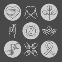 Los iconos de la línea del día de los derechos humanos establecen el diseño incluido la cinta del yin yang del corazón vector