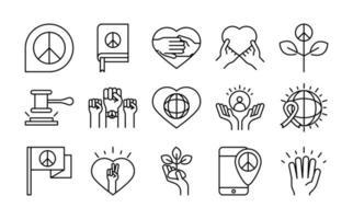 Los iconos de la línea del día de los derechos humanos establecen el diseño incluido la bandera mundial del corazón de paz vector