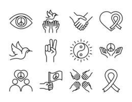 Los iconos de la línea del día de los derechos humanos establecen el diseño incluido manos de paloma cinta de corazón vector