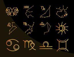 zodíaco astrología horóscopo calendario constelación géminis cáncer leo virgo colección de iconos estilo degradado fondo negro vector