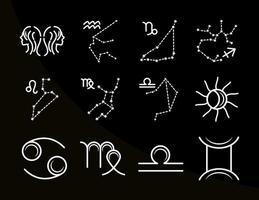 zodíaco astrología horóscopo calendario constelación géminis cáncer leo virgo colección de iconos estilo de línea fondo negro vector
