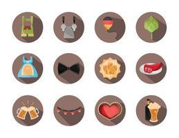oktoberfest beer festival celebration german traditional block flat icons set vector