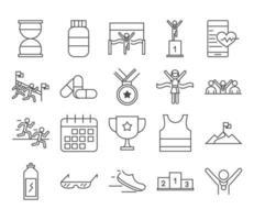 running sport race clock medicine medal shoe power beverage calendar line icons set design vector