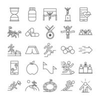 running sport race clock protein medal barbell apple stadium people line icons set design vector