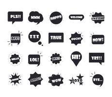 jerga burbujas diferentes palabras y frases en dibujos animados multicolor verdadero hola omg conjunto de iconos planos vector
