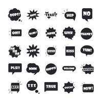 jerga burbujas diferentes palabras y frases en beso multicolor de dibujos animados super verdadero feliz conjunto de iconos planos vector