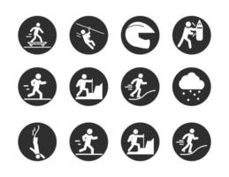 extreme sport active lifestyle skater runner climbing surf block and flat icons set vector