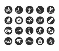 extreme sport active lifestyle swim motocross runner climber hiking diving block and flat icons set vector