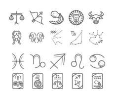 zodíaco astrología horóscopo calendario constelación aries sagitario leo libra colección de iconos estilo de línea vector