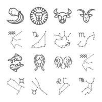 zodíaco astrología horóscopo calendario constelación capricornio leo tauro géminis colección de iconos estilo de línea vector
