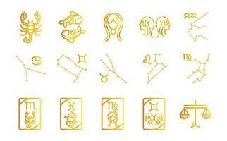 zodíaco astrología horóscopo calendario constelación escorpio piscis virgo géminis libra colección de iconos estilo degradado vector