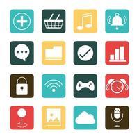 mobile application shopping music wifi photo clock audio web button menu digital flat style icons set vector
