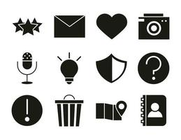 mobile application favourite email like camera audio contact web button menu digital silhouette style icons set vector