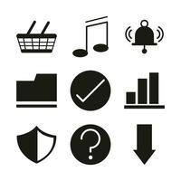 mobile application shopping music support file web button menu digital silhouette style icons set vector