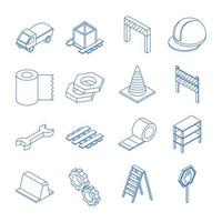 isometric repair construction work tool and equipment wood wheelbarrow barrier tape screwdriver truck barrels flat style icons set vector
