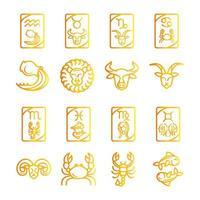 zodiac astrology horoscope calendar constellation aquarium leo scorpio virgo taurus icons collection gradient style vector