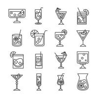 cocktail icon drink liquor refreshing alcohol glass cups celebration event party icons set vector