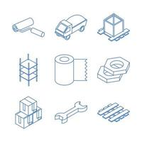 isometric repair construction work tool and equipment hammer trowel toolbox flat style icons set vector