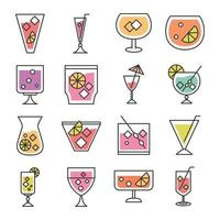 cocktail icon drink liquor alcohol glass cups delicious beverages icons set vector