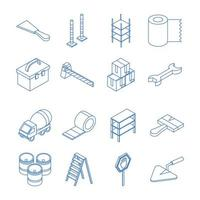 isometric repair construction work tool and equipment concrete mixer truck ladder tape gears brush hammer flat style icons set vector