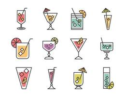 cocktail icon drink liquor refreshing alcohol glass cups menu bar icons set vector