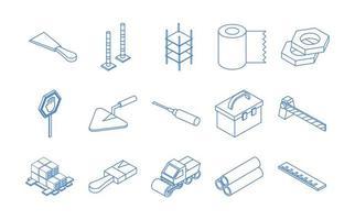 isometric repair construction work tool and equipment wheelbarrow spatula saw truck shovel flat style icons set vector