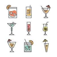 cocktail icon drink liquor refreshing alcohol glass cups lime umbrella ice icons set vector