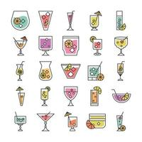 cocktail icon drink liquor alcohol fresh glass cups party icons set vector