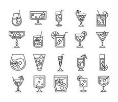 cocktail icon liquor refreshing alcohol glass cups iced drinks icons set vector