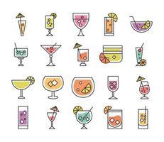 icono de cóctel licor alcohol refrescante vasos de vidrio bebidas heladas conjunto de iconos vector