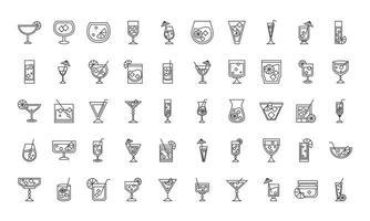 icono de cóctel licor bebidas alcohólicas bebidas vasos de vidrio conjunto de iconos vector