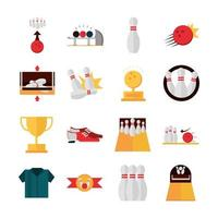 bowling game recreational sport shoes trophy ball pin shirt flat icons set vector