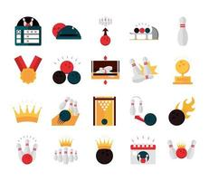 bowling game recreational sport score board ball medal pin calendar alley flat icons set vector