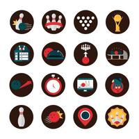 bowling game recreational sport shoes trophy ball pin shirt block and flat icons set vector