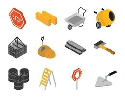 isometric repair construction work tool and equipment ladder mixer concrete barrel shovel soil hammer flat style icons set vector