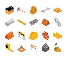 reparación isométrica trabajo de construcción herramienta y equipo caja de herramientas cajas de barrera llave hekmet cinta métrica conjunto de iconos de estilo plano vector
