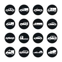 car model mini truck campervan transport vehicle silhouette style icons set design vector