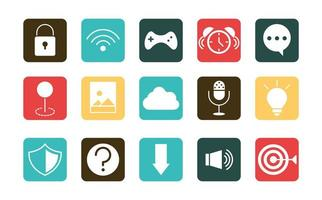 mobile application wifi game clock sms support web button menu digital flat style icons set vector