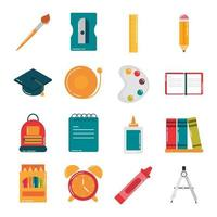 school education supply class stationery flat style icons set vector