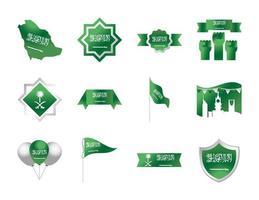 kingdom of saudi arabia national day celebration freedom national icons set gradient style vector