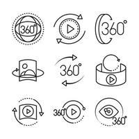 360 degree view virtual tour image panorama linear style icons set design vector