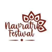 happy navratri indian celebration goddess durga culture mythological silhouette style icon vector
