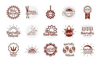 happy navratri indian celebration goddess durga culture traditonal icons set flat style vector