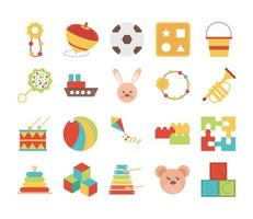 toy object for small children to play flat style cartoon icons set vector