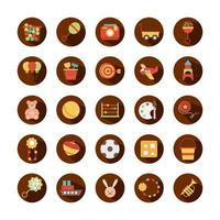toy object for small children to play block and flat style cartoon icons set vector