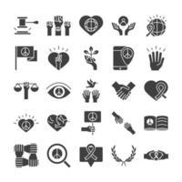 Los iconos de la línea del día de los derechos humanos establecen el diseño incluido la ley manos corazón libro cartel vector
