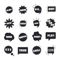 slang bubbles different words and phrases bang yes sorry yeah flat icons set vector