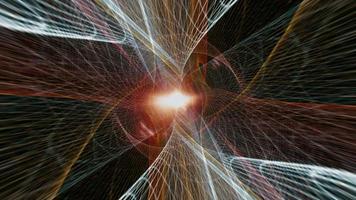 Vuelo interminable a través de una colorida malla cibernética de rejilla multicolor video