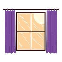 window frame with curtains decoration interior vector
