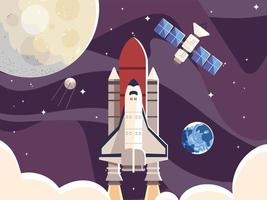 space moon spaceship satellite and planet galaxy vector
